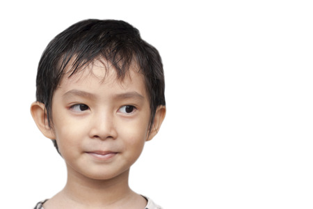Asian boy get idea  photo