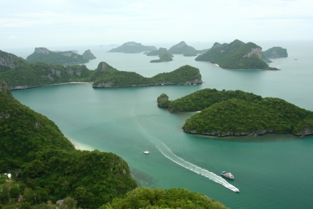 scenic tropical island archipelago in Thailand, ang thong national park photo