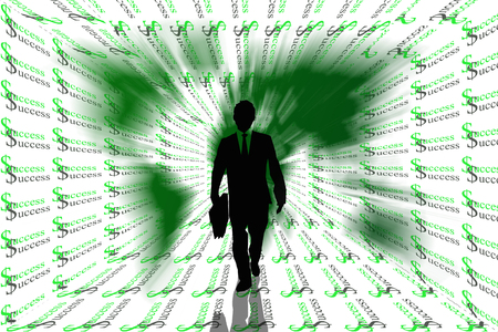 Success abstract background with world map and business man on silhouettes  photo