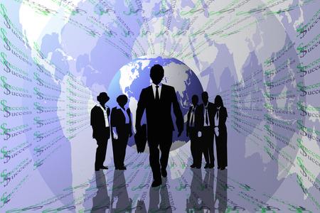 Success abstract background with earth and teamwork on silhouettes  photo