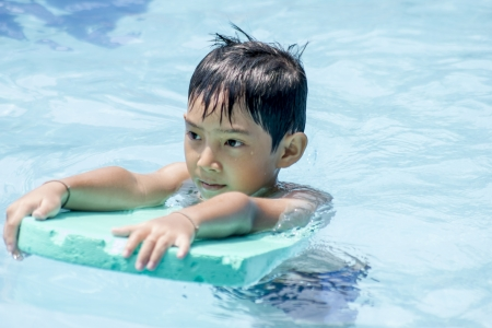 Asian Boy training swim  photo