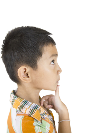 Asian Boy thinking on isolated  photo