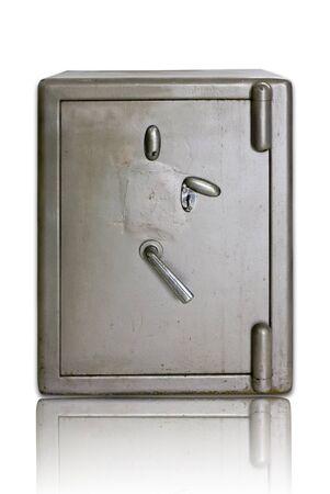iron safe vintage on white photo