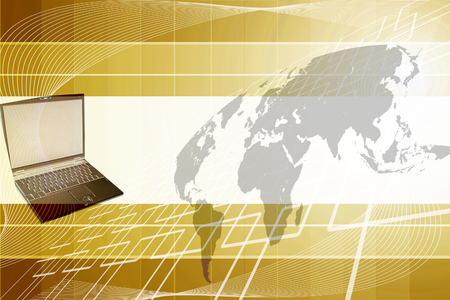 penfriend: world map Background and laptop  Stock Photo