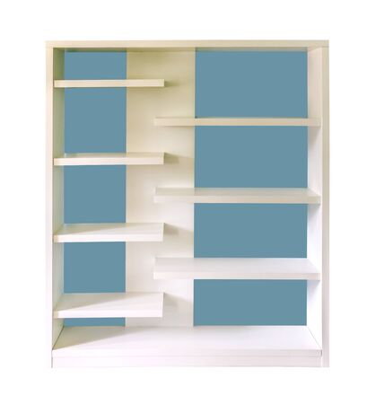 The empty white shelf on wall with white background. photo