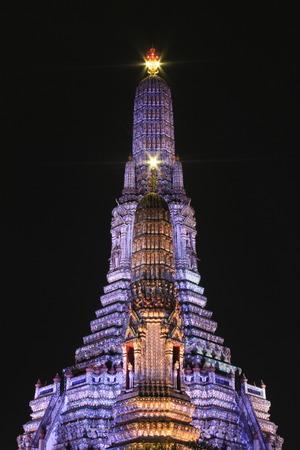 night view of phra prang wat arun photo