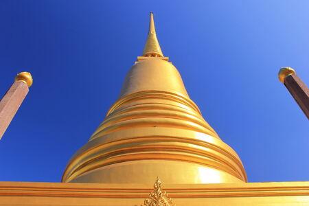 golden pagoda at mahannapharam temple in bangkok from thailand photo