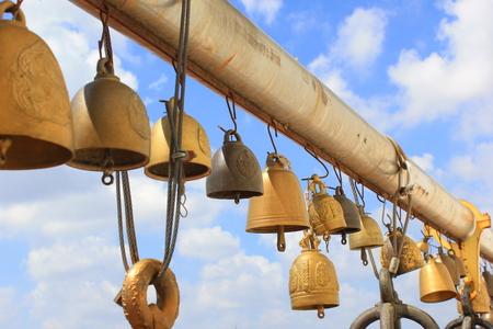 bell at buddhist temple (wat saket) in bangkok thailand photo