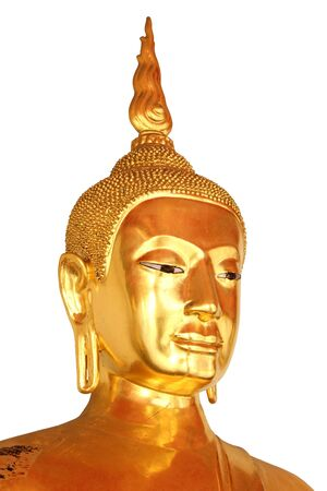 face closeup buddha statue in buddhist temple wat pho, bangkok, thailand, isolated on white background photo