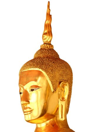 buddha head statue in buddhist temple wat pho, bangkok, thailand, isolated on white background photo