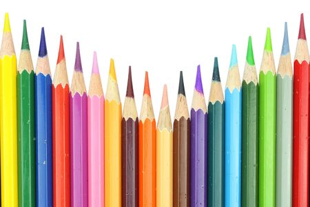 layout chart style eighteen colour pencils isolated on white background photo