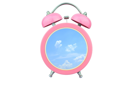 loudness: conceptual art : time to relax : sky and cloud within pink alarm clock isolated on white background
