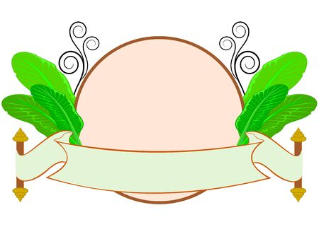 banana leaf: vector illustration of vector of banana leaf with thai style label