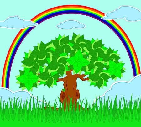 rainbow sky: vector illustration of tree in the field and rainbow on the sky