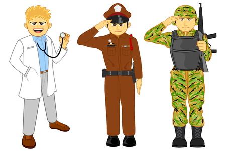 officer: vector and illustration of doctor, police and military career Illustration