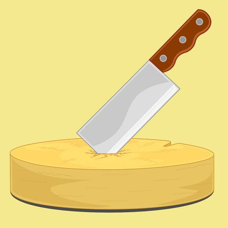 cutting board: vector and illustration of chopping knife stab on chopping board