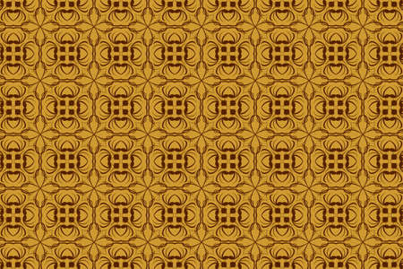 tracery: vintage abstract background vector of brown tracery in seamless style Illustration