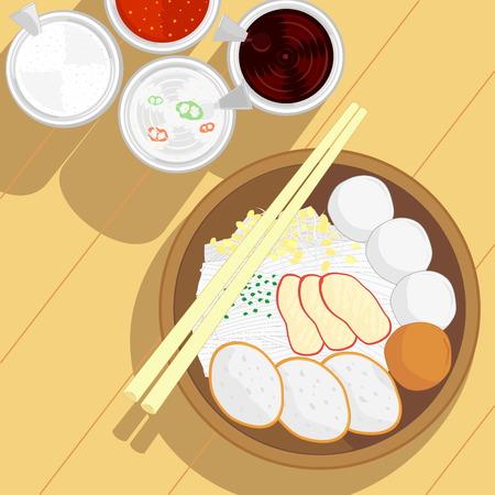 chinese fast food: vector de estilo tailand�s fideos bolas de pescado y carne de cerdo asado rojo sin sopa y condimento en el tabl�n de madera Vectores