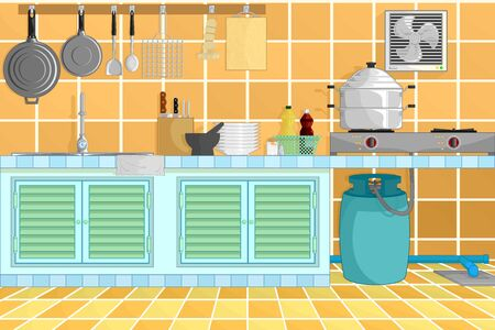 stove pipe: kitchen interior background from thai kitchen style with kitchenware. vector illustration. Illustration