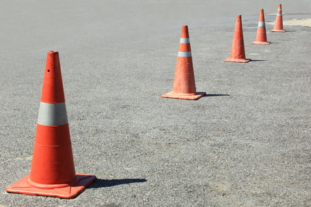 industrial park: traffic cones background for use in industrial, car park, construction,