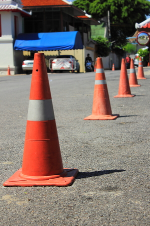 traffic   cones: traffic cones background for use in carpark Stock Photo
