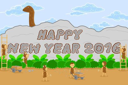 stoneage: neanderthal man style background of celeblation happy new year 2016
