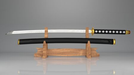 ancient samurai sword with a sheath on the sword display rack. originated from the samurai in Japan.