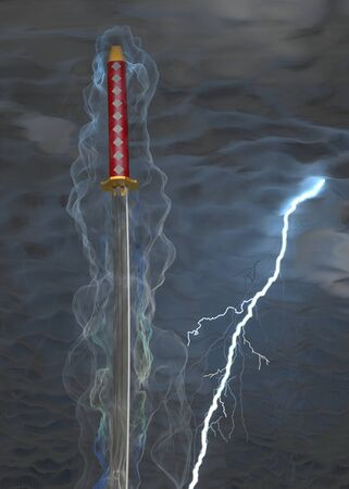 surrounds: 3d smoke surrounds samurai sword on a background overcast sky and lightning. Stock Photo