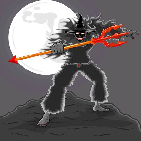 vector of scary devil wizard with red trident in right hand stand on the rock and a full moon behind him. Illustration