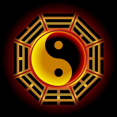 The Yin Yang symbol is surrounded by the i ching (book of changes) symbol. By making it out to have a reddish black tone