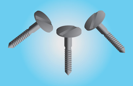 Screws on blue background Vector