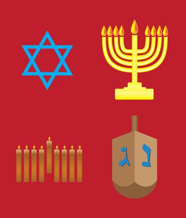 hannukah: Hannukah symbols on red background