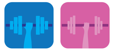 Pop art simple fitness icons or buttons for male and female Vector