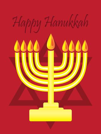 shalom: Happy Hanukkah with menorah on red background