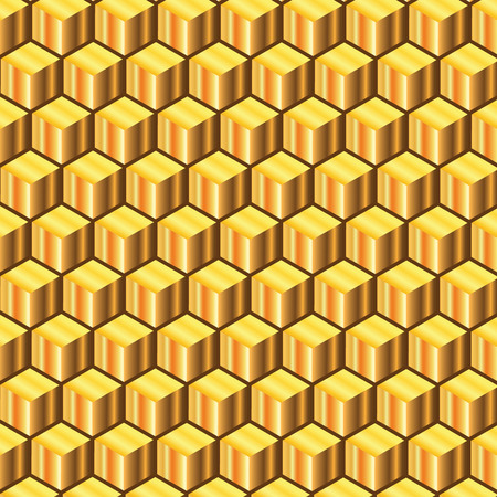 wax glossy: Golden cubes abstract background ,bee like