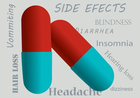 erectile: Red and blue pills with side effects as grey background Illustration