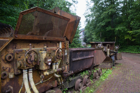 mining gold: Old mining machines used for mining gold or minerals Stock Photo