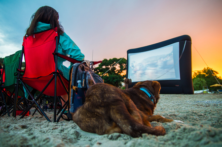 GIRL WITH DOG AT CINEMA ON THE BEACH AT NIGHT