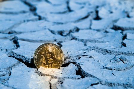 BITCOIN BTC crypto currency hitting bottom dry support Stock Photo