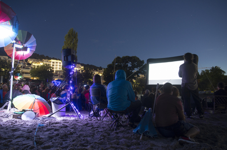 CINEMA ON THE BEACH AT NIGHT SKY WITH VIEW