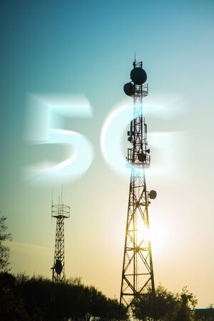5G radio transmitting tower with antennas for communication coverage