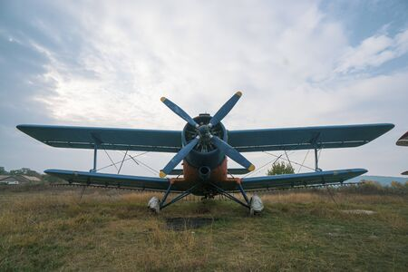 Front of Agricultural plane used for fertilizing, shot on the ground