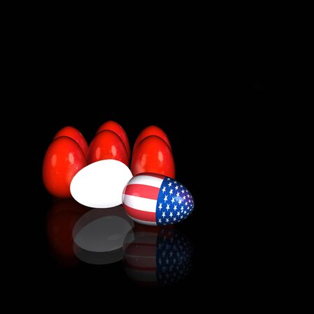 Easter eggs with an American flag  3D render