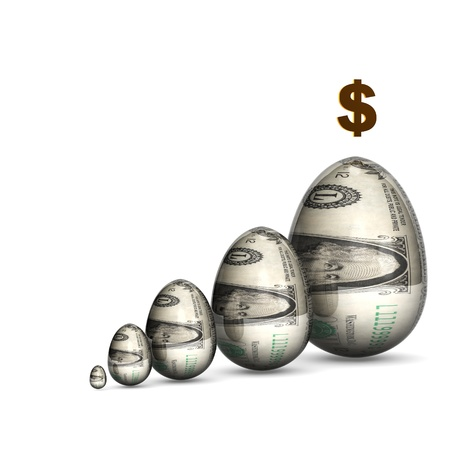 nestegg: Dollar Eggs Growth Graph 3D render