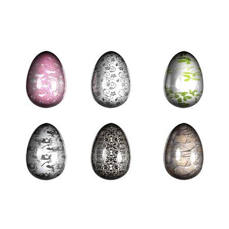Easter eggs mirror 3D render Stock Photo