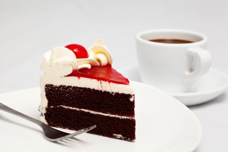 chocolate cake with cherry isolated on white background Stock Photo - 15441434