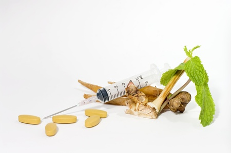 Traditional medicine against homeopathy, isoleted on white background