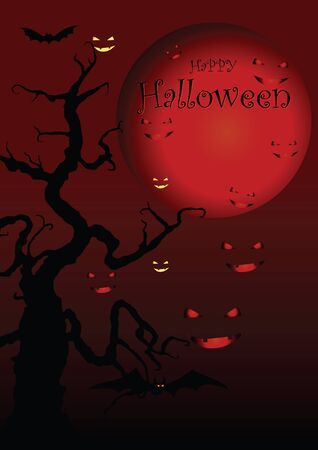 Halloween illustration on moon background.  Vector