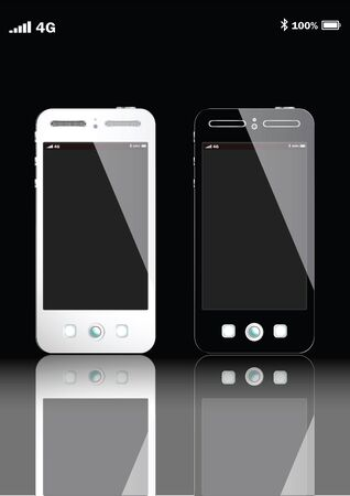 ending of service: 4GBLACK AND WHITE SMART PHONE VECTOR EPS10