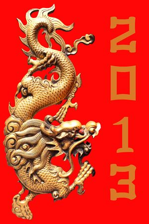 Golden dragon chinese statue on red background
